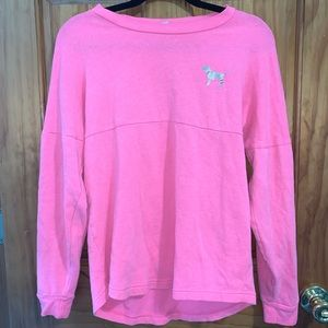 PINK Hot Pink Long Sleeve Pullover